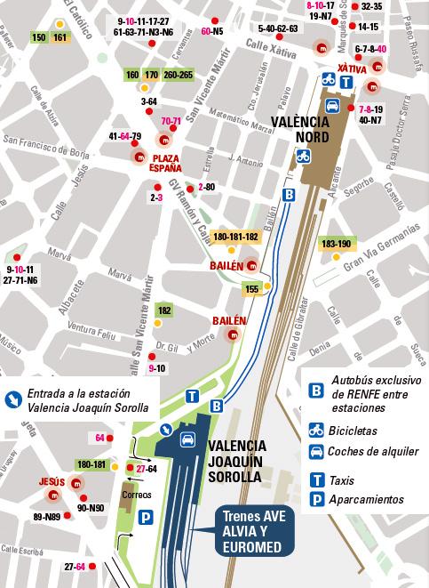 Valencia Estaciones de Tren  Valencia Joaqun Sorolla y Valencia Nord